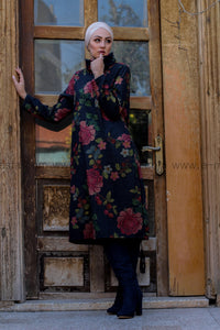 Dark Blue Autumn Winter Dress with Pink Floral Print