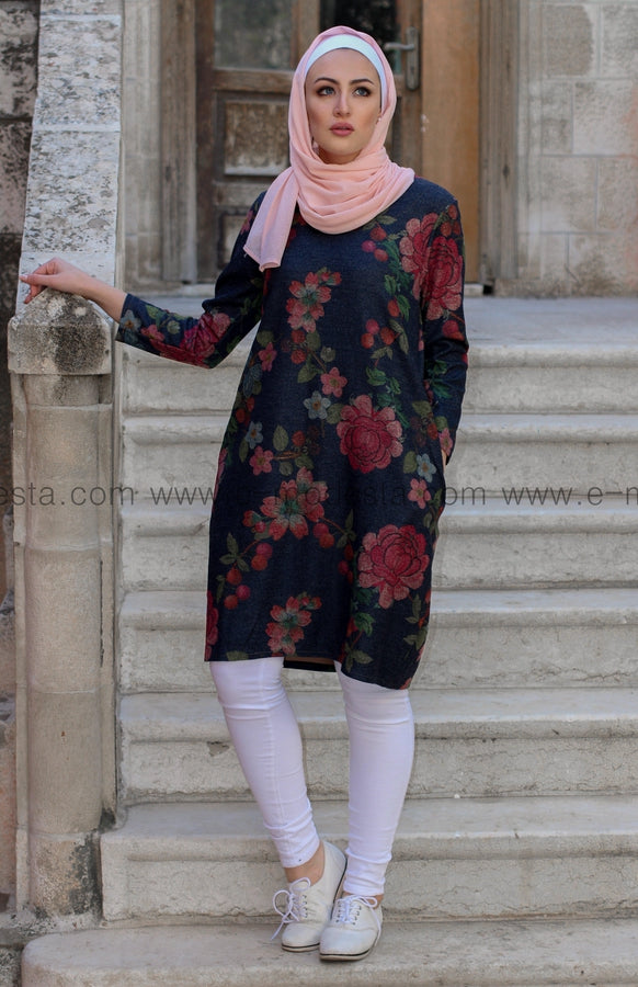 Dark Blue Autumn Winter Casual Tunic with Pink Floral Print - E-Modesta