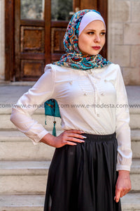 Summer Blouse with Pearls Decoration