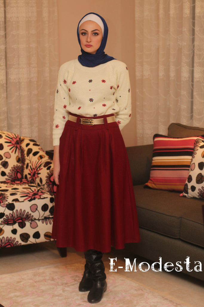 SALE Winter thick skirt with pockets- with belt - E-Modesta
