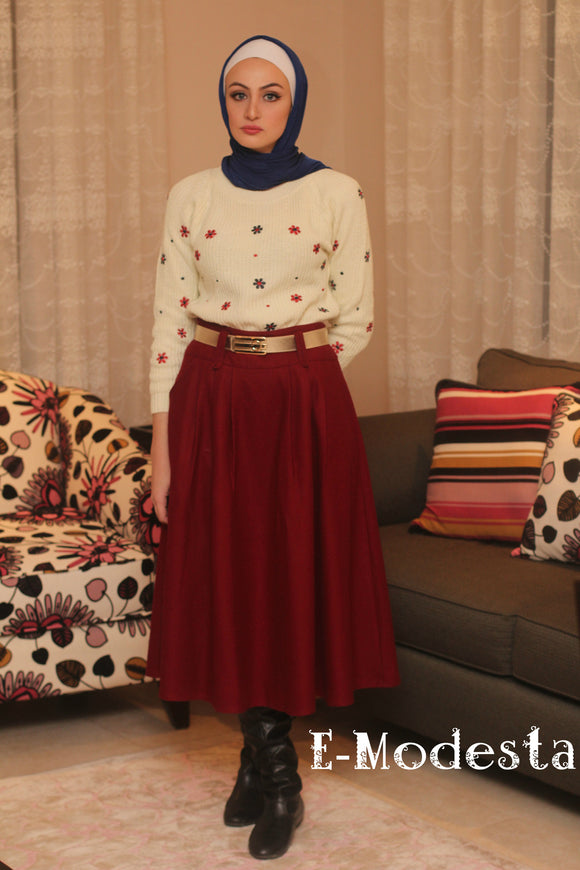 Winter thick skirt with pockets- with belt