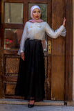 SALE Maxi Lace Skirt with Satin Full Lining - E-Modesta