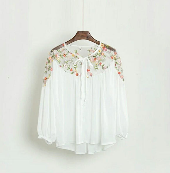 White Chiffon Top with Floral Mesh Shoulder