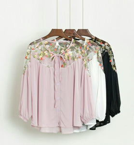 Chiffon Top with Floral Mesh Shoulder