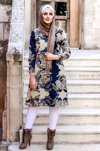 Dark Blue and Beige Tunic - with soft fur lining from inside