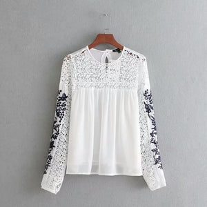 Chiffon 2-layers Top - with Sleeve Embroidery
