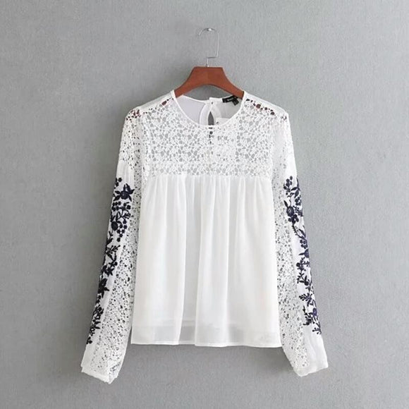 White Chiffon 2-layers Top - with Sleeve Embroidery