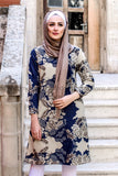 Dark Blue and Beige Spring and Summer Tunic - E-Modesta