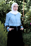 Blue Top with Black Lace - E-Modesta