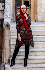 Dark Brown and Red Autumn Winter Tunic