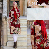 Winter Tunic Autumn Red Leaves - Soft Fur Lining from inside - E-Modesta