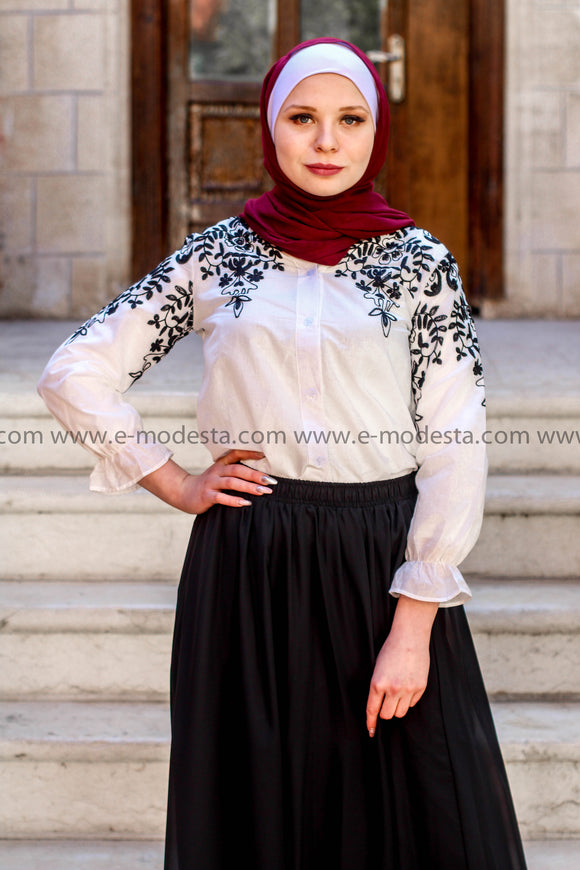 Fashion Black Embroidery Casual Shirt