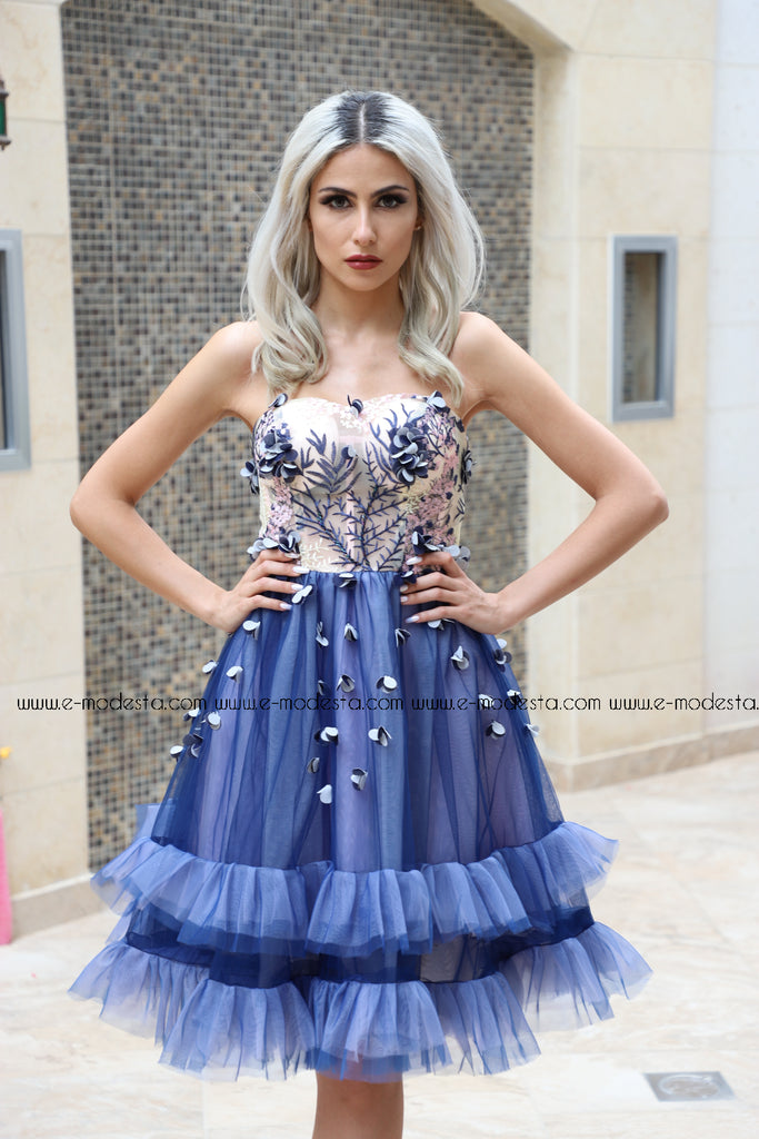 Knee Length Starpless Prom Dress - E-Modesta