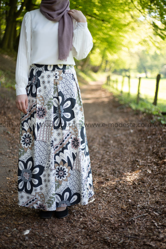 Maxi Floral Skirt | Pink & Blue | Lined from Inside