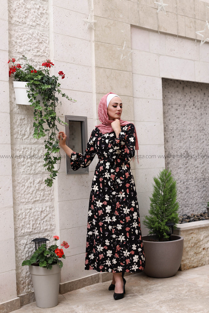 Elegant Print Floral Full Dress Flare Sleeve - E-Modesta