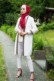 Knee-Length Cardigan with Embroidery | Color White