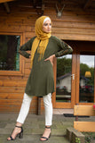 Knee-Length Tunic with Embroidery Sleeve | Green Color