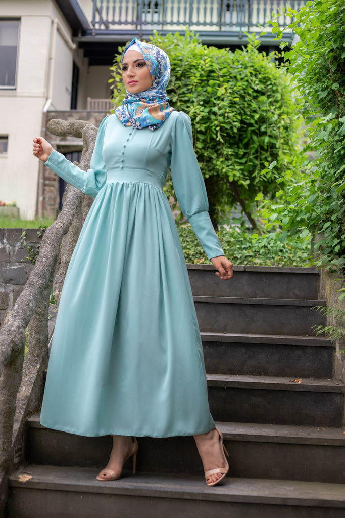 Simple Elegant Dress | Fully Lined | Sky Blue Color