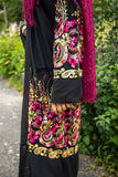 Elegant Black Chiffon Cardigan | Colorful Embroidery