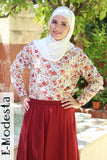 Red Floral Printed Shirt - E-Modesta