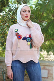 Thick Wool Loose-style Pullover with Embroidery Tassel Lotus Leaf - E-Modesta
