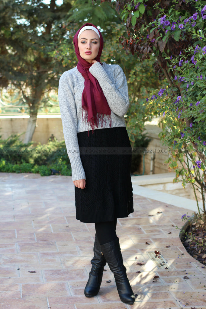 SALE Warm Knitted Knee Length Winter Skirt - E-Modesta