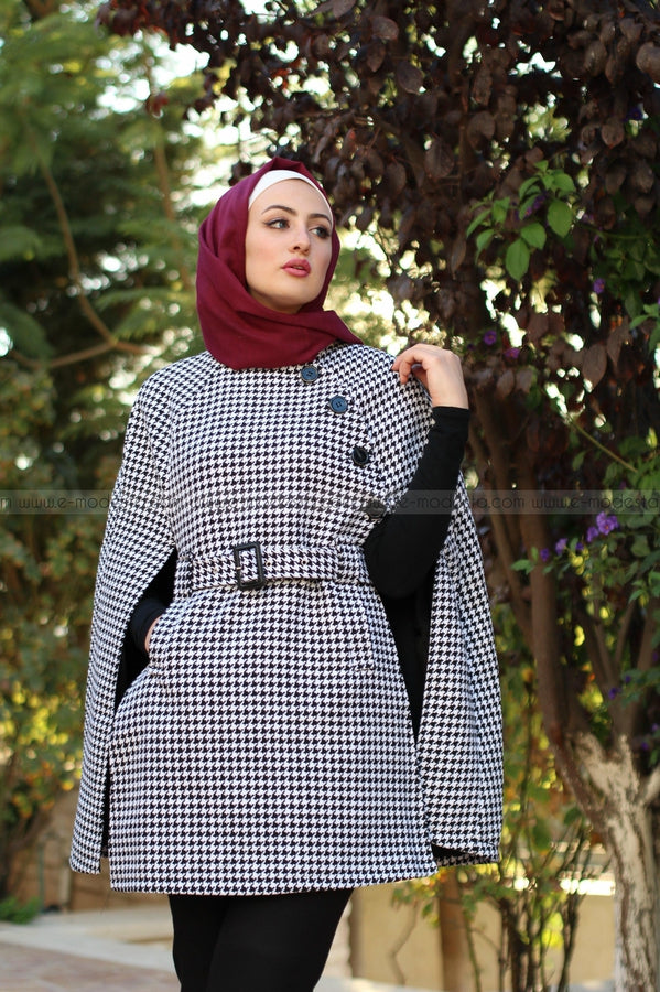 Fashion Plaid Knitted Windbreaker Long Overcoat/Cape with Belt - E-Modesta