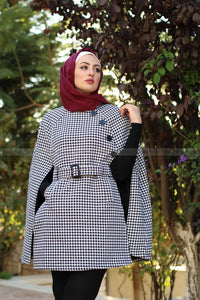 Fashion Plaid Knitted Windbreaker Long Overcoat/Cape with Belt