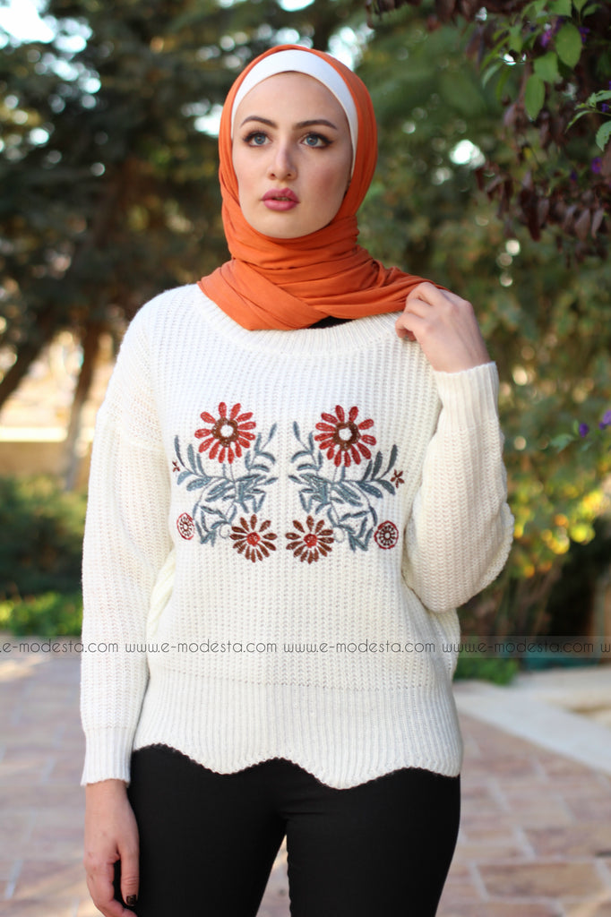 SALE Embroidery Floral Thick Wool Sweater - E-Modesta