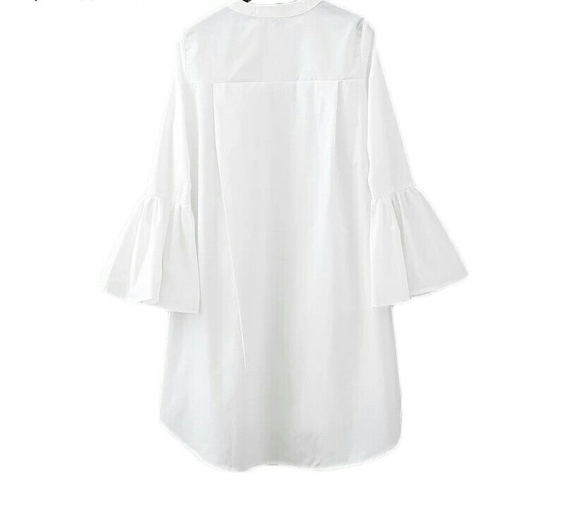 Flare Sleeve O-neck Basic Simple White Long Shirt - E-Modesta