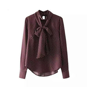Vintage Bow Tie Polka Dot Blouse with Stand Collar