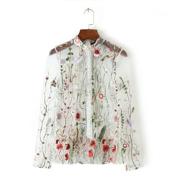 Sweet Flower Embroidery Mesh Blouse