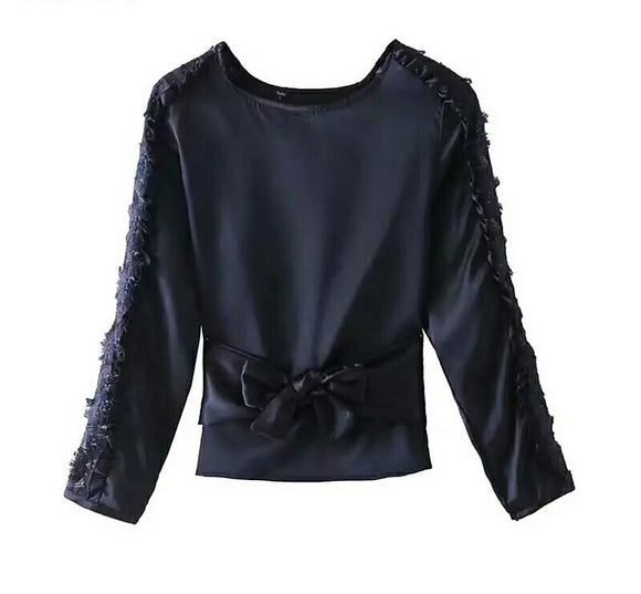 Sweet Lace Patchwork Satin Blouse with Bow Tie Belt and Ruffled Long Sleeve