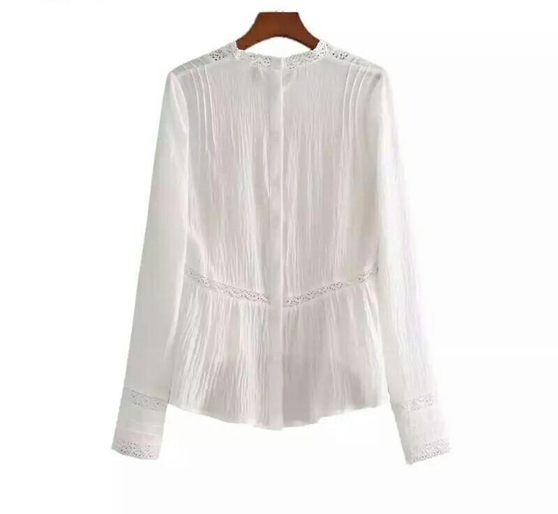 Sweet hollow out white shirts floral embroidery - E-Modesta