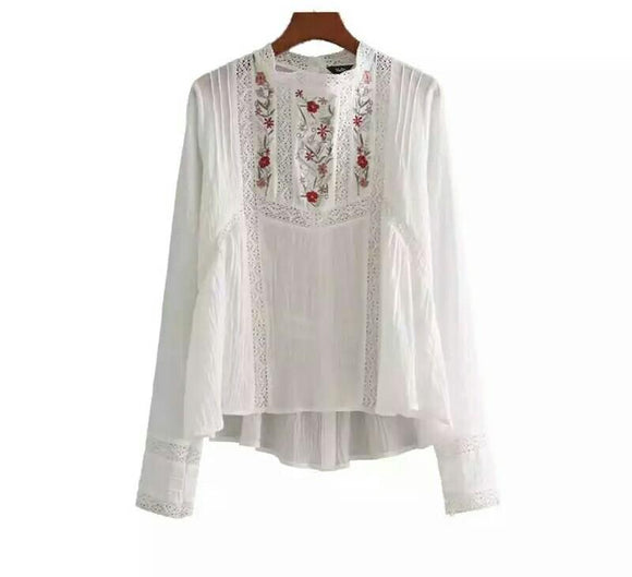 Sweet hollow out white shirts floral embroidery