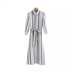 Elegant Striped Maxi Ankle-length Tunic with Bow Tie belt and Turn Down Collar