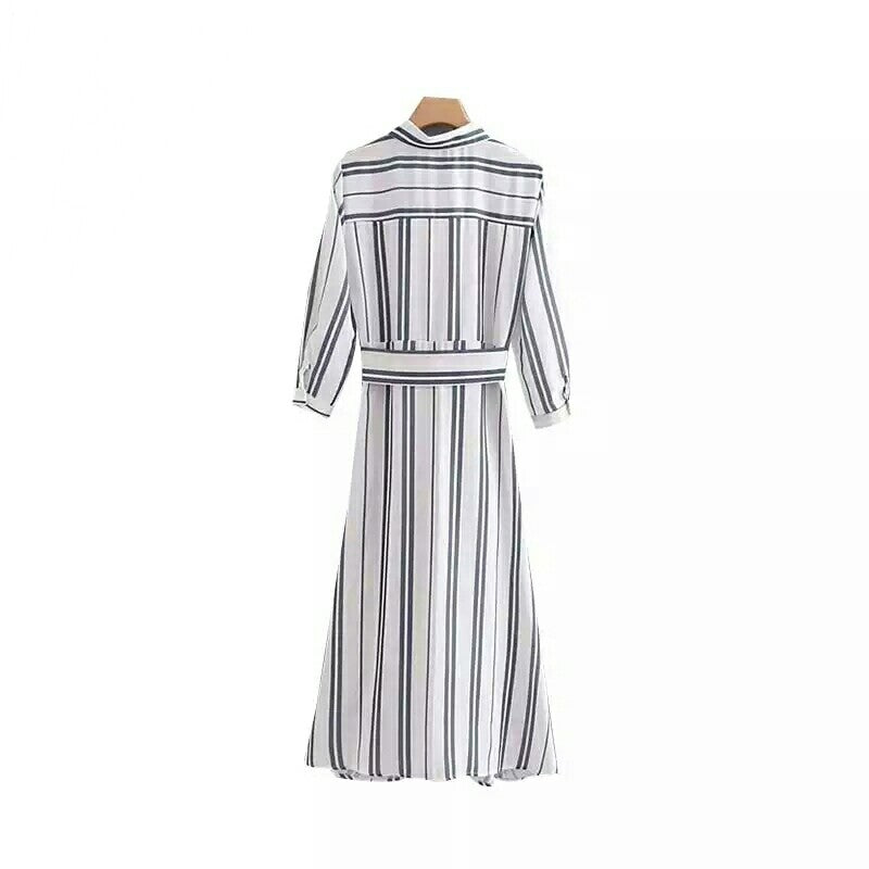 Elegant Striped Maxi Ankle-length Tunic with Bow Tie belt and Turn Down Collar - E-Modesta