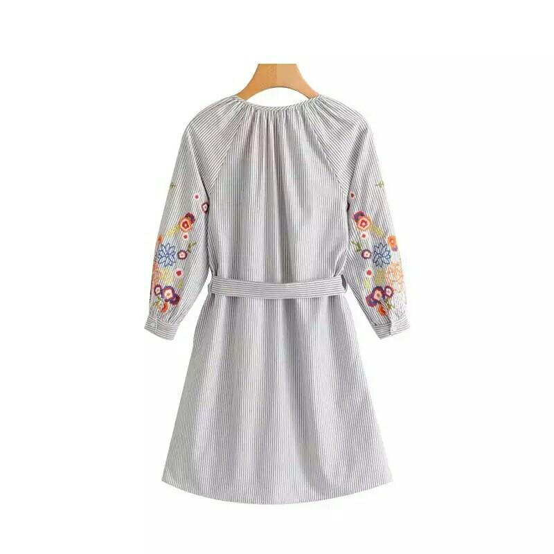Sweet Floral Embroidery Striped V-neck Knee-length Tunic - E-Modesta