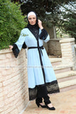 Sky Blue Abaya with Black Lace