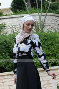 Black Blouse with Big Flowers Print