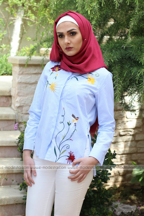 Blue Striped Shirt with Floral Embroidery