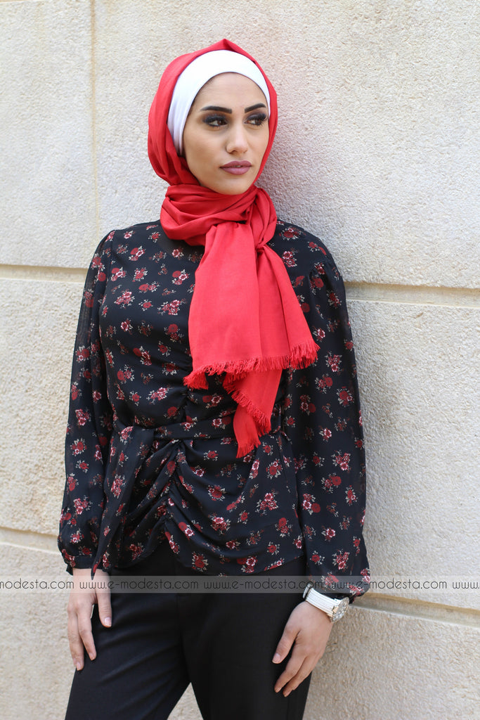 Chiffon Formal Blouse with Small Red Flowers - E-Modesta