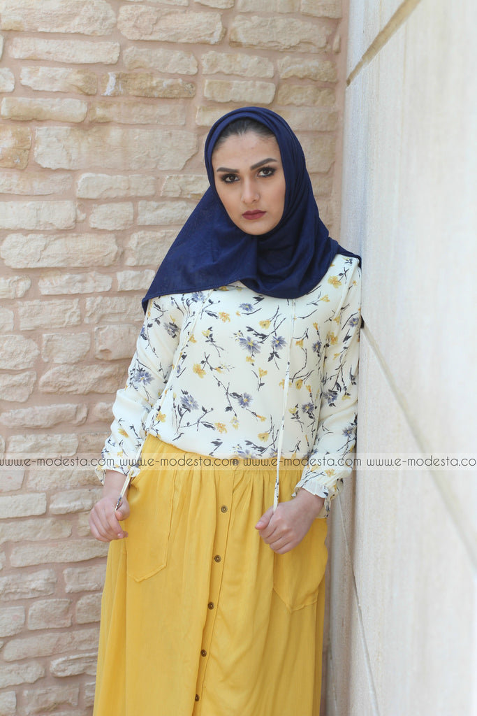 Cute White Blouse with Yellow & Blue Flowers - E-Modesta