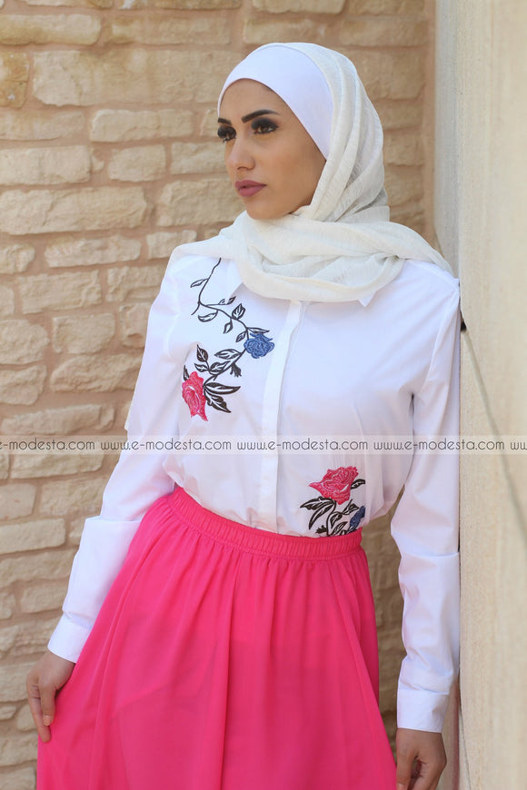 White Shirt with Embroidery Pink Flowers