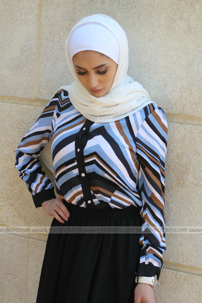 Triangular-Striped Chiffon Shirt