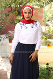 Long Sleeve O-neck Blouse with Dark Blue Embroidery