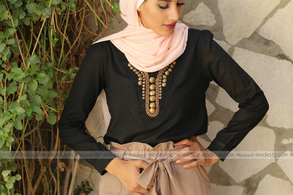 SALE Chiffon Formal Blouse with Bronze Beads - E-Modesta