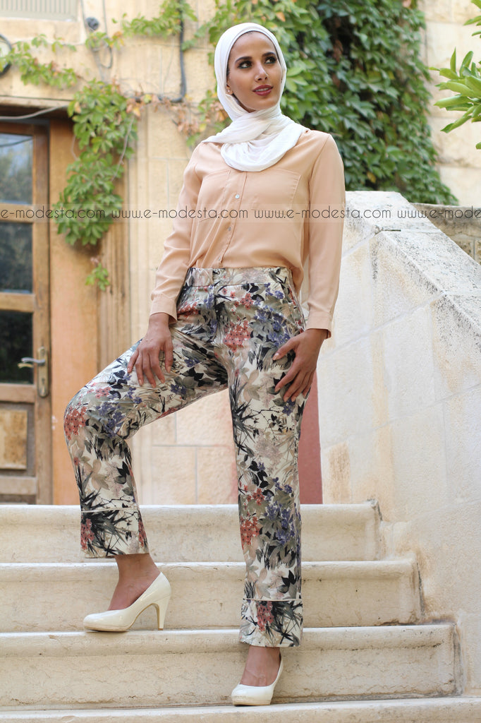Multicolored Floral Print Pants - with pockets - E-Modesta