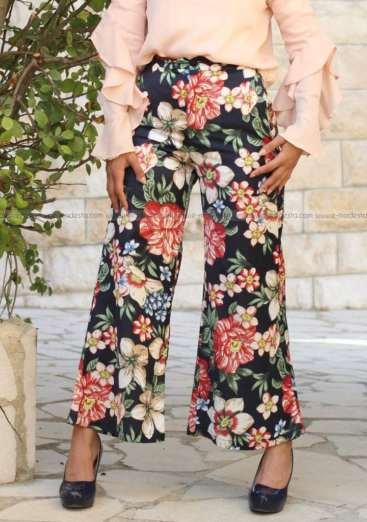 Vintage Floral Wide Leg Pants Elastic Waist with Pockets - E-Modesta