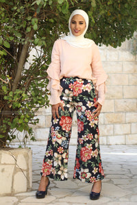 Vintage Floral Wide Leg Pants Elastic Waist with Pockets